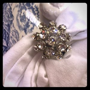 WHBM silver rhinestone cocktail statement ring NWT